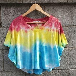 Custom Tie Dye Crop V-neck Flowy T-shirt